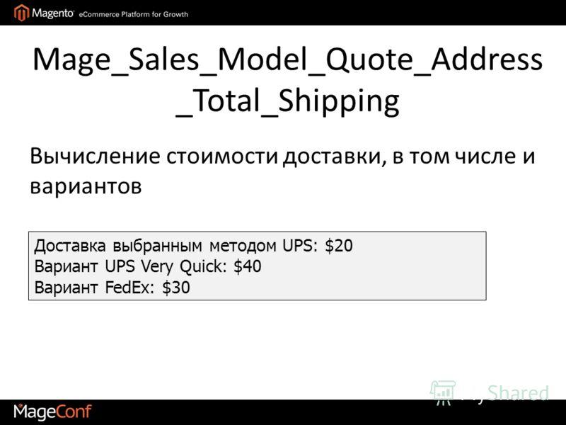 Mage_Sales_Model_Quote_Address _Total_Shipping Доставка выбранным методом UPS: $20 Вариант UPS Very Quick: $40 Вариант FedEx: $30 Вычисление стоимости доставки, в том числе и вариантов