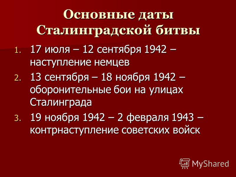Основные даты Сталинградской битвы 1. 17 1. 17 июля – 12 сентября 1942 – наступление немцев 2. 13 2. 13 сентября – 18 ноября 1942 – оборонительные бои на улицах Сталинграда 3. 19 3. 19 ноября 1942 – 2 февраля 1943 – контрнаступление советских войск