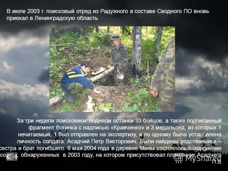 В июле 2003 г. поисковый отряд из Радужного в составе Сводного ПО вновь приехал в Ленинградскую область За три недели поисковики подняли останки 33 бойцов, а также подписанный фрагмент ботинка с надписью «Кравченко» и 3 медальона, из которых 1 нечита