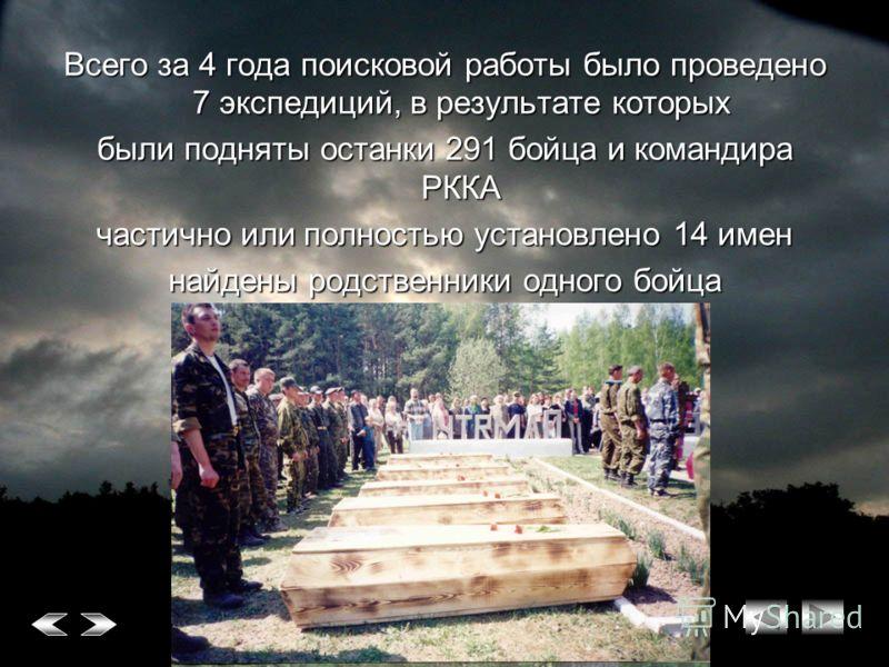 Всего за 4 года поисковой работы было проведено 7 экспедиций, в результате которых были подняты останки 291 бойца и командира РККА частично или полностью установлено 14 имен найдены родственники одного бойца