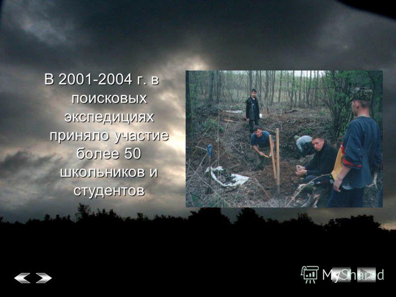 В 2001-2004 г. в поисковых экспедициях приняло участие более 50 школьников и студентов