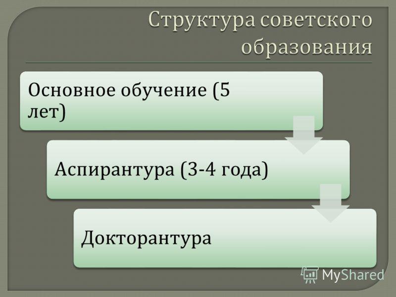 Основное обучение (5 лет ) Аспирантура (3-4 года ) Докторантура