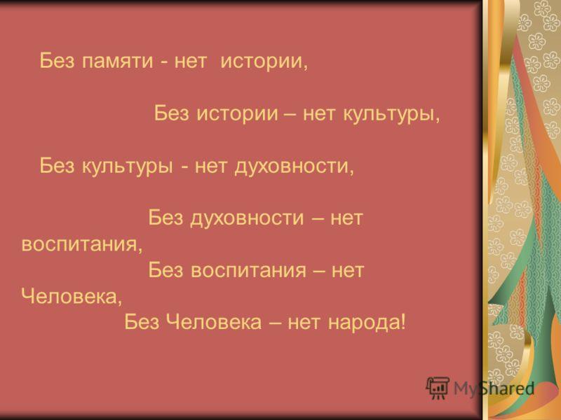 Без памяти - нет истории, Без истории – нет культуры, Без культуры - нет духовности, Без духовности – нет воспитания, Без воспитания – нет Человека, Без Человека – нет народа!