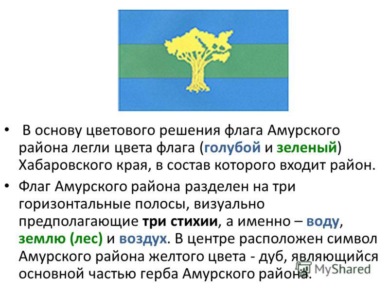 В основу цветового решения флага Амурского района легли цвета флага (голубой и зеленый) Хабаровского края, в состав которого входит район. Флаг Амурского района разделен на три горизонтальные полосы, визуально предполагающие три стихии, а именно – во