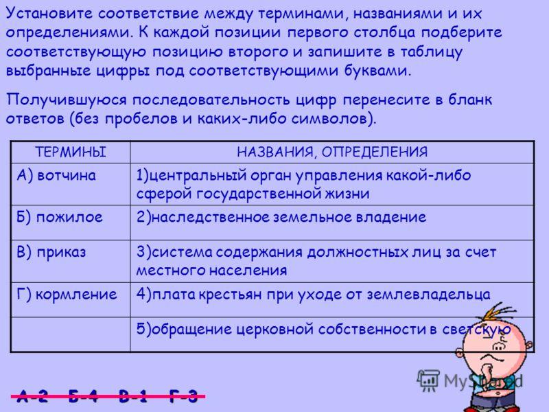 Установите соответствие между терминами, названиями и их определениями. К каждой позиции первого столбца подберите соответствующую позицию второго и запишите в таблицу выбранные цифры под соответствующими буквами. Получившуюся последовательность цифр