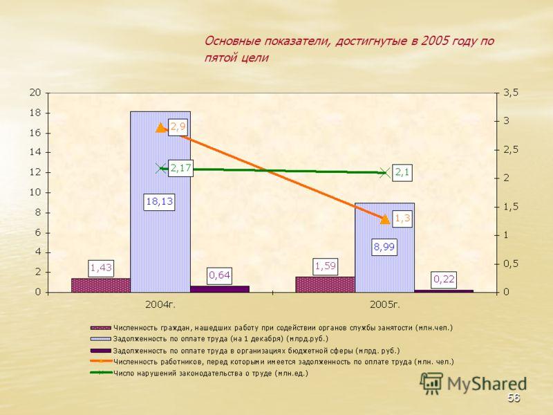 56 Основные показатели, достигнутые в 2005 году по пятой цели
