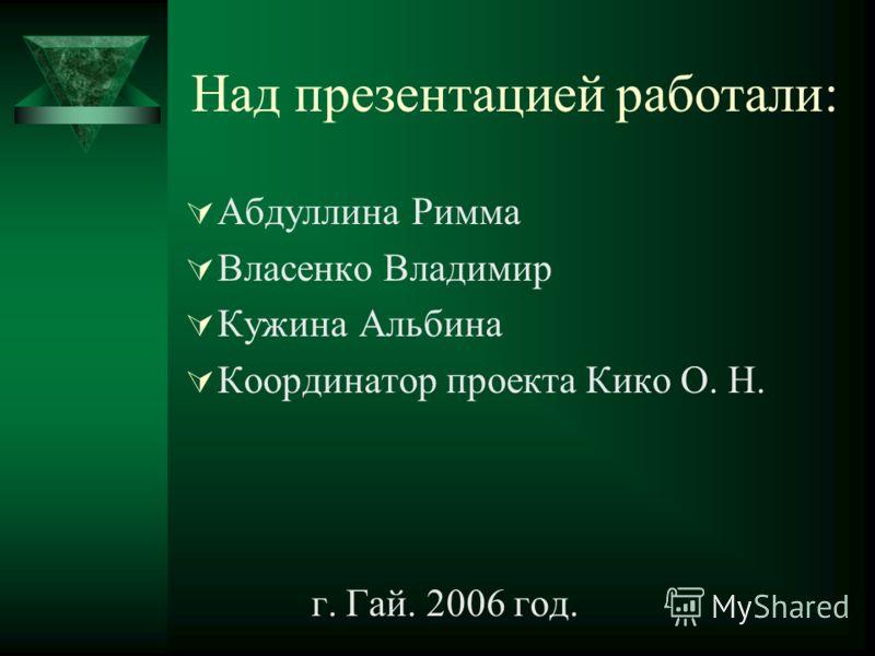 Над презентацией работали: Абдуллина Римма Власенко Владимир Кужина Альбина Координатор проекта Кико О. Н. г. Гай. 2006 год.