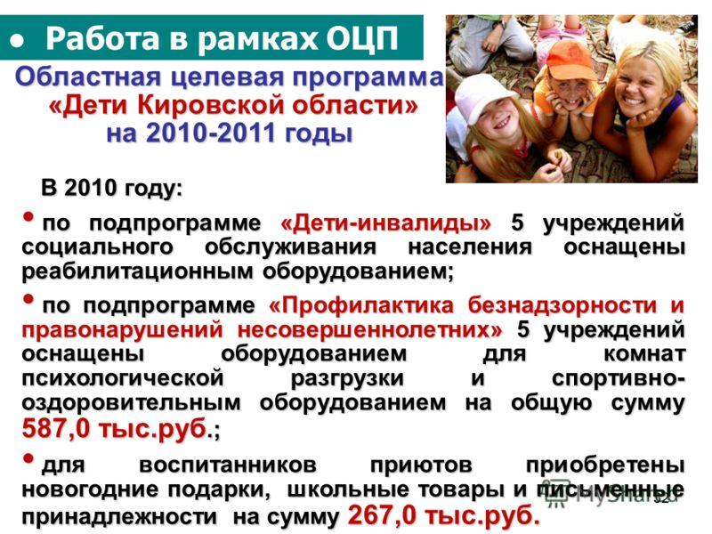 32 Работа в рамках ОЦП Областная целевая программа «Дети Кировской области» на 2010-2011 годы В 2010 году: В 2010 году: по подпрограмме «Дети-инвалиды» 5 учреждений социального обслуживания населения оснащены реабилитационным оборудованием; по подпро