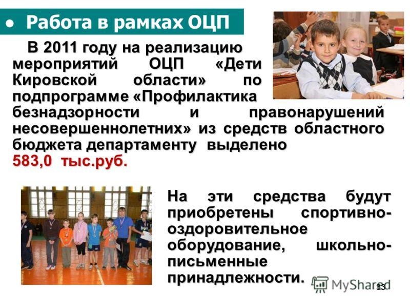 33 Работа в рамках ОЦП В 2011 году на реализацию В 2011 году на реализацию мероприятий ОЦП «Дети Кировской области» по подпрограмме «Профилактика безнадзорности и правонарушений несовершеннолетних» из средств областного бюджета департаменту выделено