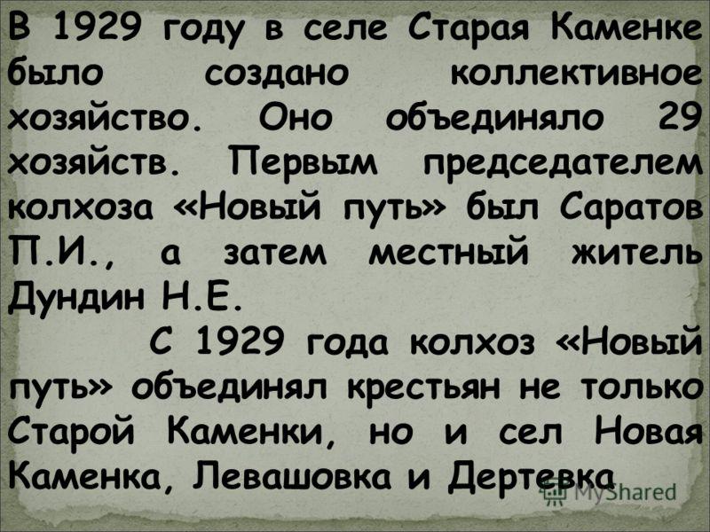 В 1929 году в селе Старая Каменке было создано коллективное хозяйство. Оно объединяло 29 хозяйств. Первым председателем колхоза «Новый путь» был Саратов П.И., а затем местный житель Дундин Н.Е. С 1929 года колхоз «Новый путь» объединял крестьян не то