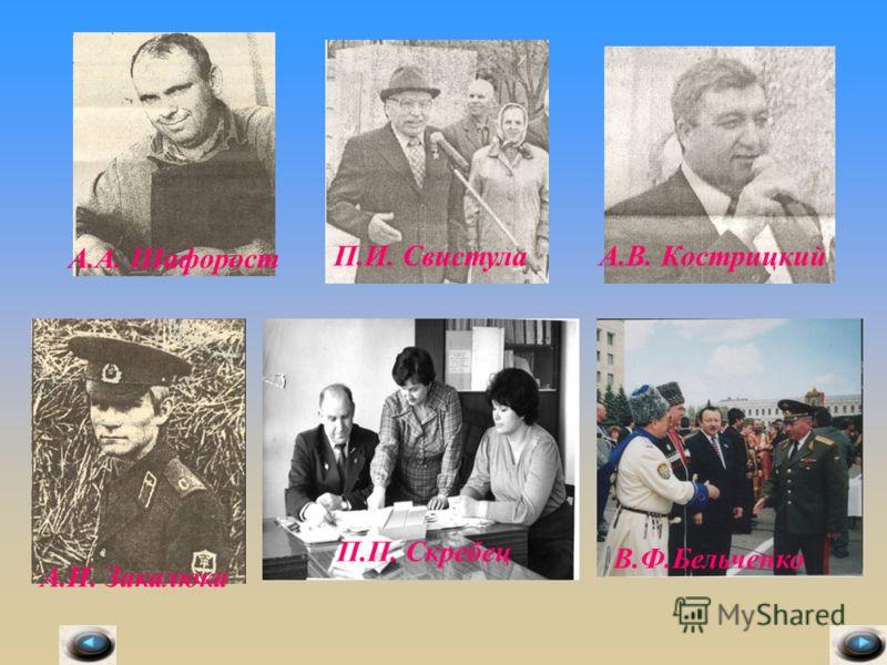 А.А. Шафорост П.И. СвистулаА.В. Кострицкий А.И. Закалюка П.П. Скребец В.Ф.Бельченко