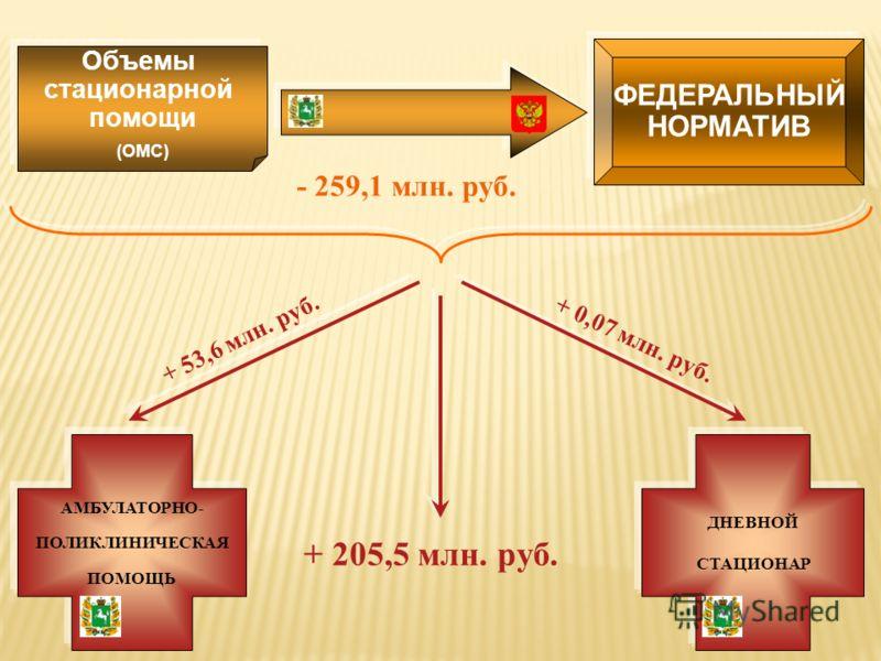 ФЕДЕРАЛЬНЫЙ НОРМАТИВ Объемы стационарной помощи (ОМС) - 259,1 млн. руб. АМБУЛАТОРНО- ПОЛИКЛИНИЧЕСКАЯ ПОМОЩЬ + 53,6 млн. руб. ДНЕВНОЙ СТАЦИОНАР + 0,07 млн. руб. + 205,5 млн. руб.