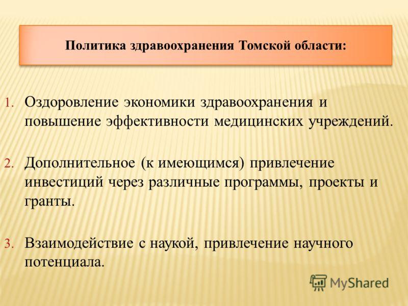 Политика здравоохранения Томской области: 1. Оздоровление экономики здравоохранения и повышение эффективности медицинских учреждений. 2. Дополнительное (к имеющимся) привлечение инвестиций через различные программы, проекты и гранты. 3. Взаимодействи