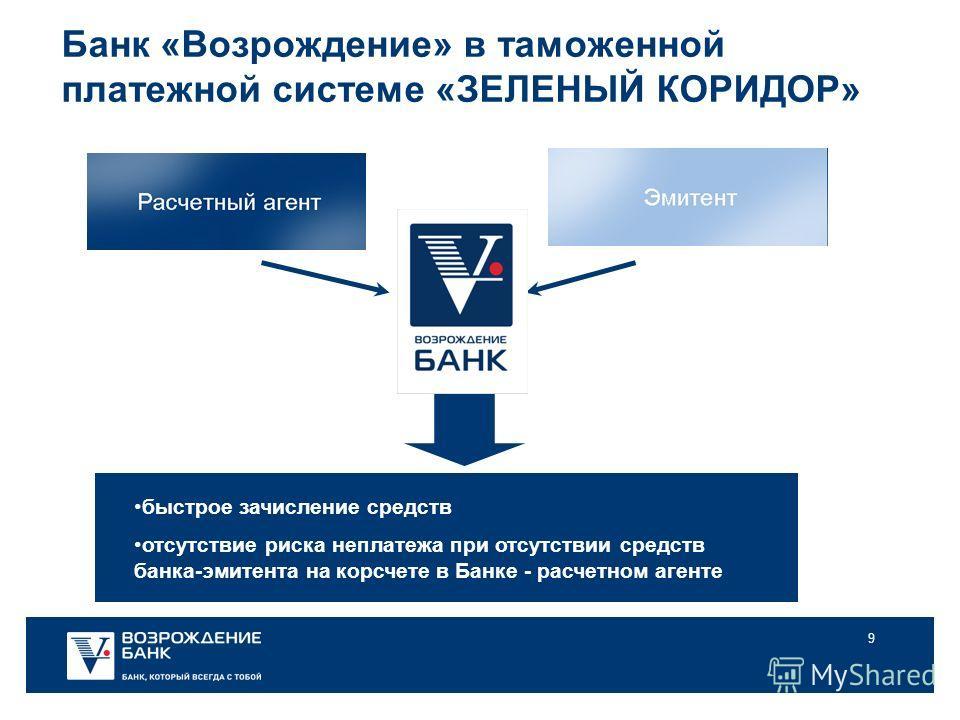 9 Банк «Возрождение» в таможенной платежной системе «ЗЕЛЕНЫЙ КОРИДОР» быстрое зачисление средств отсутствие риска неплатежа при отсутствии средств банка-эмитента на корсчете в Банке - расчетном агенте