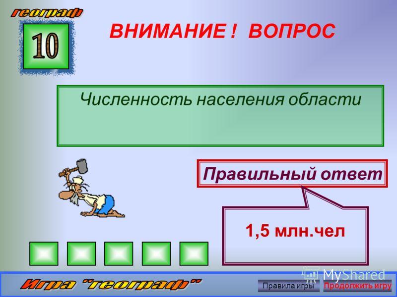 ВНИМАНИЕ ! ВОПРОС Площадь Белгородской области Правильный ответ 27,1 тыс.км 2 Правила игрыПродолжить игру