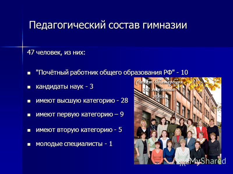 Педагогический состав гимназии 47 человек, из них: