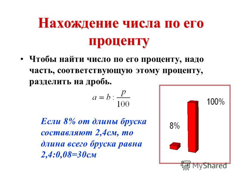 Нахождение процента от числа Чтобы найти процент от числа, надо это число умножить на соответствующую дробь. 20% от 45 кг сахара равны 45·0,2=9 кг.