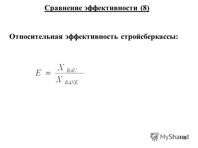 118 Относительная эффективность стройсберкассы: Сравнение эффективности (8)