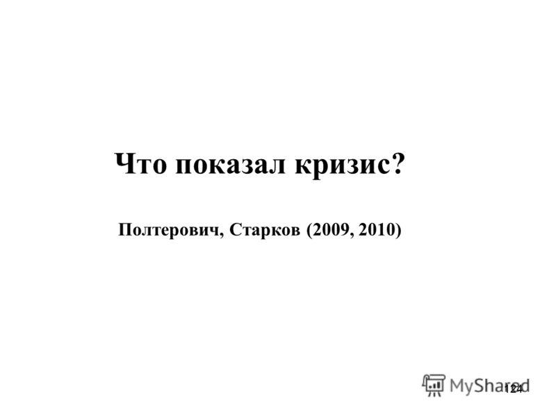 124 Что показал кризис? Полтерович, Старков (2009, 2010)