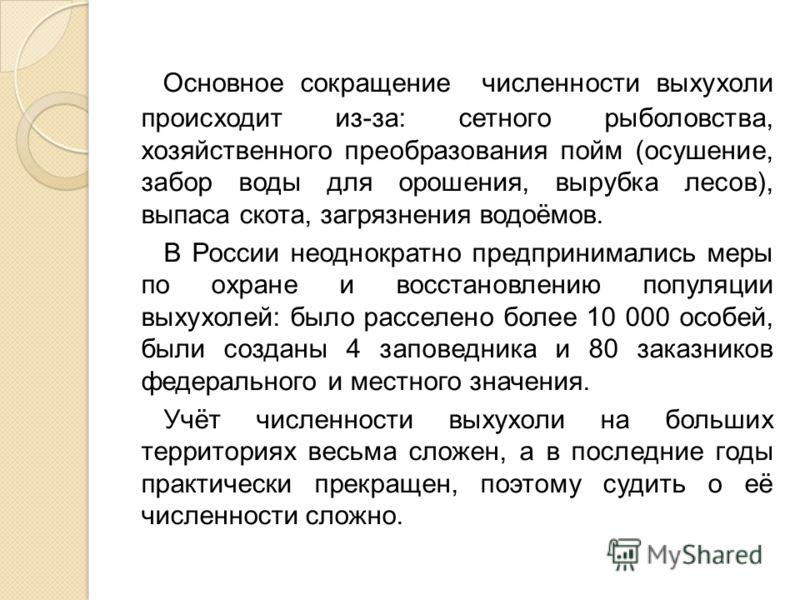 Основное сокращение численности выхухоли происходит из-за: сетного рыболовства, хозяйственного преобразования пойм (осушение, забор воды для орошения, вырубка лесов), выпаса скота, загрязнения водоёмов. В России неоднократно предпринимались меры по о