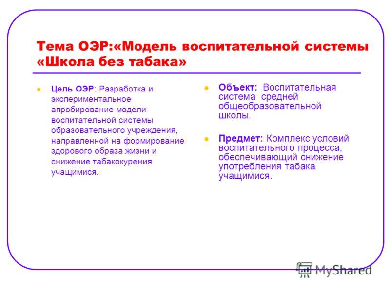 Тема ОЭР:«Модель воспитательной системы «Школа без табака» Цель ОЭР: Разработка и экспериментальное апробирование модели воспитательной системы образовательного учреждения, направленной на формирование здорового образа жизни и снижение табакокурения