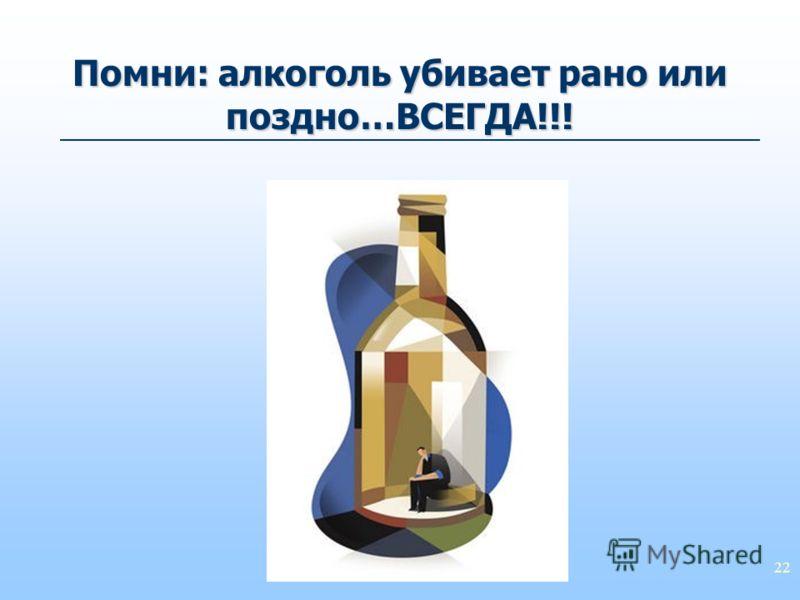 22 Помни: алкоголь убивает рано или поздно…ВСЕГДА!!!