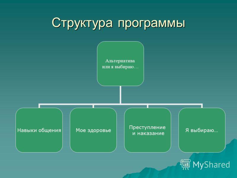 Структура программы Альтернатива или я выбираю … Навыки общения Мое здоровье Преступление и наказание Я выбираю…