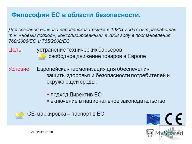 29 2012 03 20 Для создания единого европейского рынка в 1980х годах был разработан т.н. «новый подход», консолидированный в 2008 году в постановления 768/2008/EC и 765/2008/EC. Цель: устранение технических барьеров свободное движение товаров в Европе