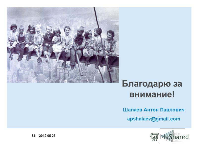 54 2012 05 23 Благодарю за внимание! Шалаев Антон Павлович apshalaev@gmail.com