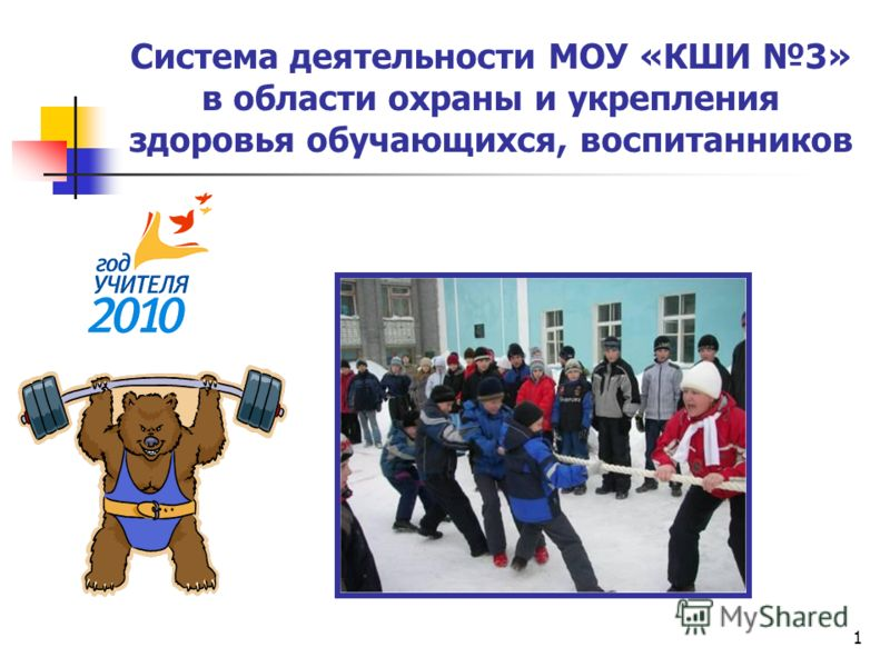 1 Система деятельности МОУ «КШИ 3» в области охраны и укрепления здоровья обучающихся, воспитанников