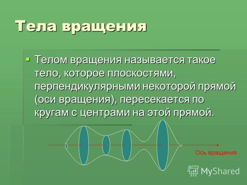 Тела вращения Телом вращения называется такое тело, которое плоскостями, перпендикулярными некоторой прямой (оси вращения), пересекается по кругам с центрами на этой прямой. Телом вращения называется такое тело, которое плоскостями, перпендикулярными