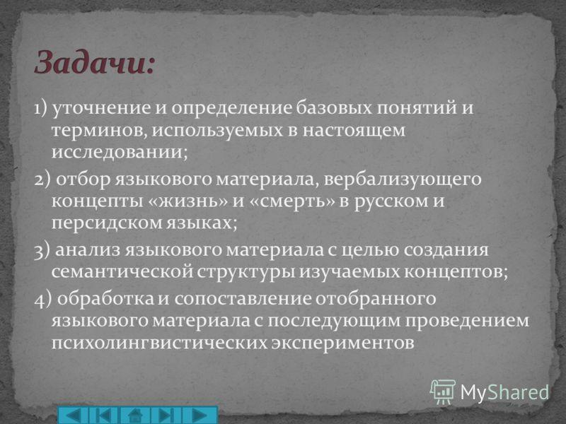 1) уточнение и определение базовых понятий и терминов, используемых в настоящем исследовании; 2) отбор языкового материала, вербализующего концепты «жизнь» и «смерть» в русском и персидском языках; 3) анализ языкового материала с целью создания семан