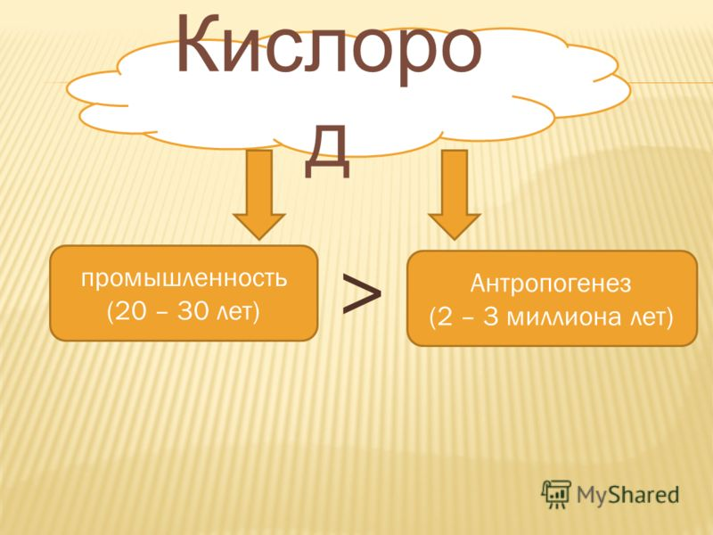 Кислоро д промышленность (20 – 30 лет) Антропогенез (2 – 3 миллиона лет) >