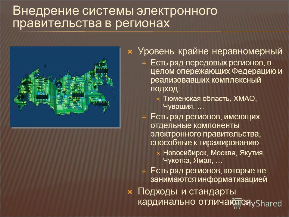 Внедрение системы электронного правительства в регионах Уровень крайне неравномерный Есть ряд передовых регионов, в целом опережающих Федерацию и реализовавших комплексный подход: Тюменская область, ХМАО, Чувашия, … Есть ряд регионов, имеющих отдельн