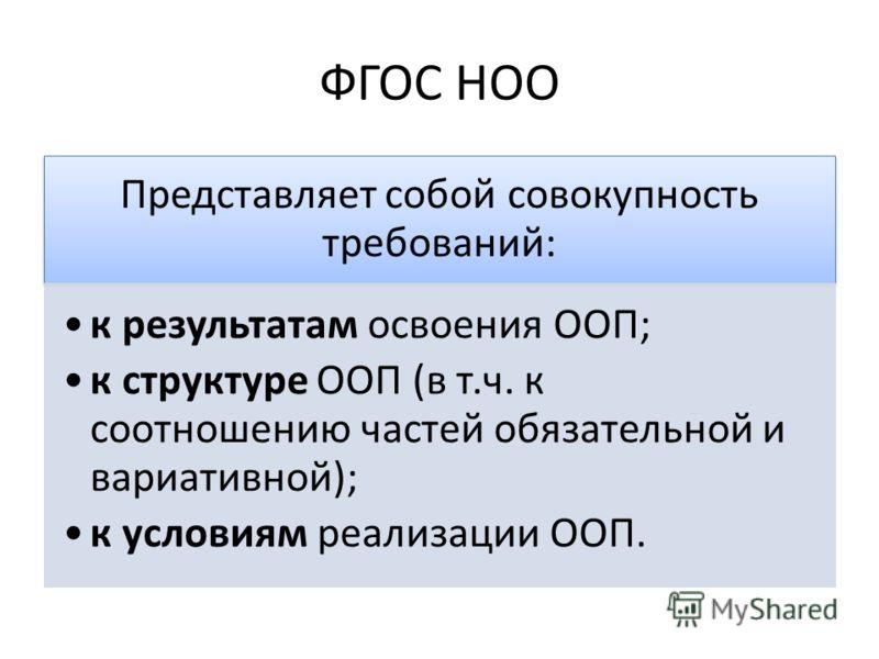 ФГОС НОО Представляет собой совокупность требований: к результатам освоения ООП; к структуре ООП (в т.ч. к соотношению частей обязательной и вариативной); к условиям реализации ООП.