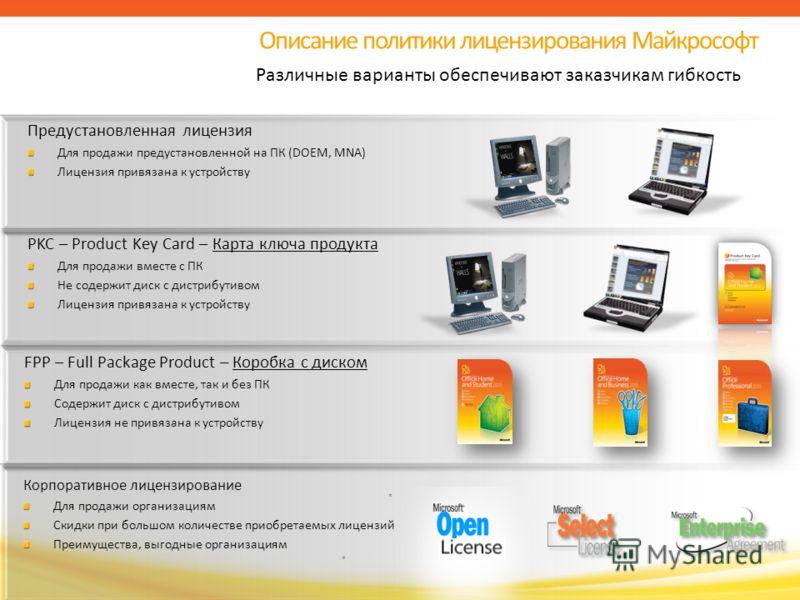 FPP – Full Package Product – Коробка с диском Для продажи как вместе, так и без ПК Содержит диск с дистрибутивом Лицензия не привязана к устройству Описание политики лицензирования Майкрософт Различные варианты обеспечивают заказчикам гибкость PKC –