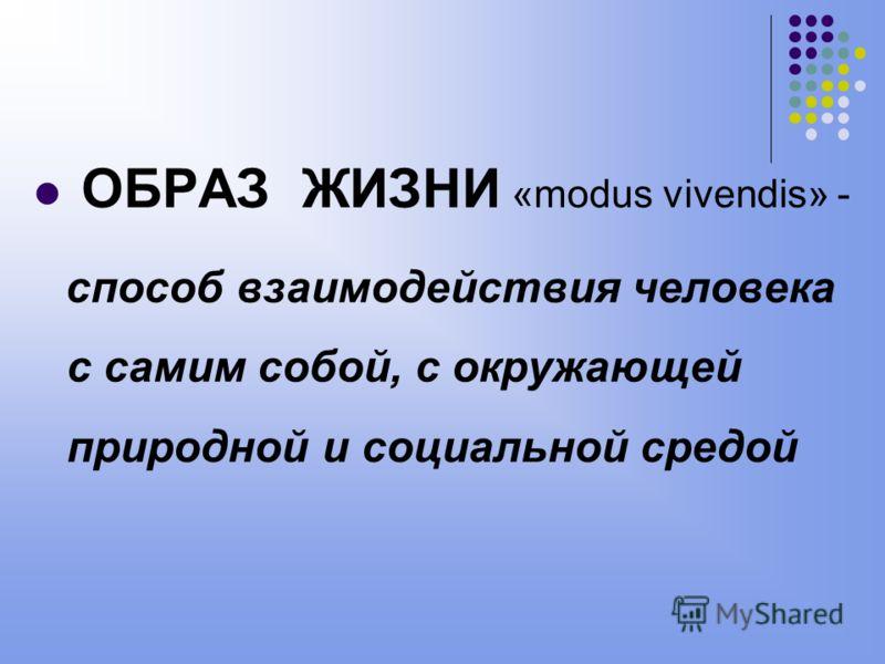 ОБРАЗ ЖИЗНИ «modus vivendis» - способ взаимодействия человека с самим собой, с окружающей природной и социальной средой