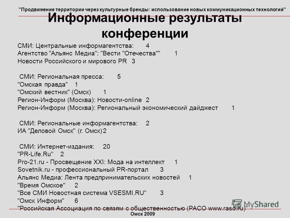 Информационные результаты конференции