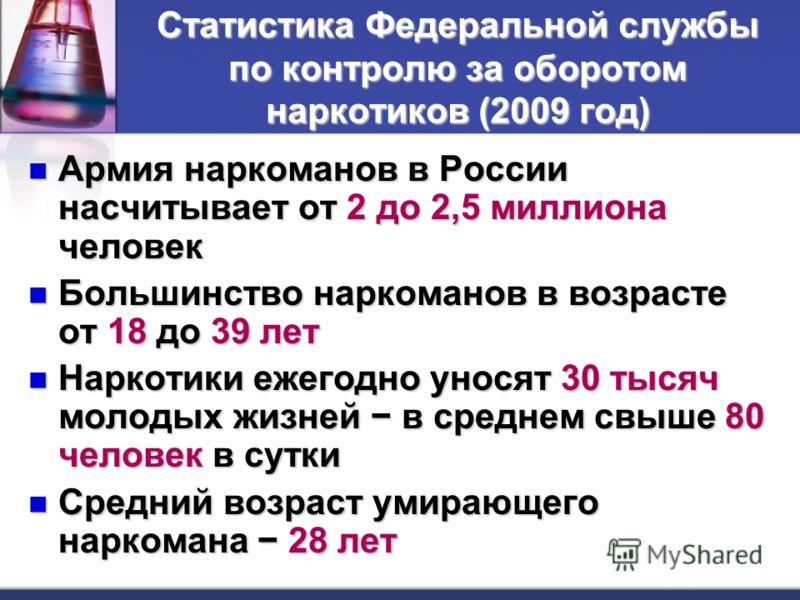 Статистика Федеральной службы по контролю за оборотом наркотиков (2009 год) Армия наркоманов в России насчитывает от 2 до 2,5 миллиона человек Армия наркоманов в России насчитывает от 2 до 2,5 миллиона человек Большинство наркоманов в возрасте от 18