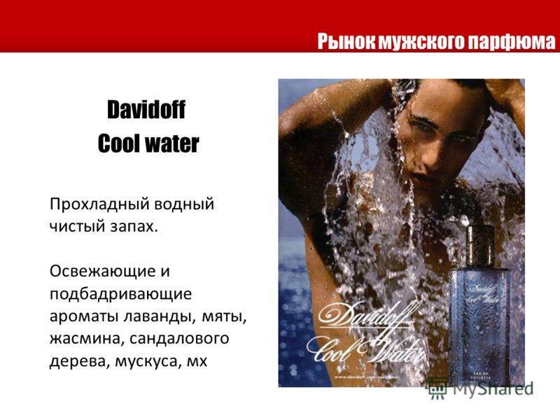 Рынок мужского парфюма Davidoff Сool water Прохладный водный чистый запах. Освежающие и подбадривающие ароматы лаванды, мяты, жасмина, сандалового дерева, мускуса, мх