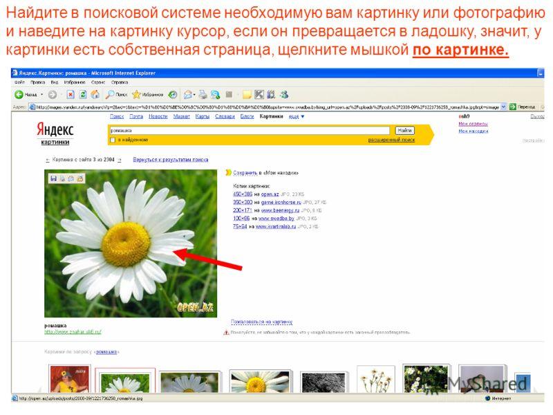 Найдите в поисковой системе необходимую вам картинку или фотографию и наведите на картинку курсор, если он превращается в ладошку, значит, у картинки есть собственная страница, щелкните мышкой по картинке.
