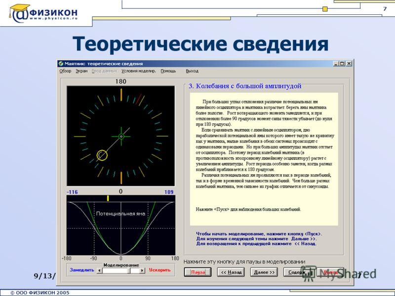 © ООО ФИЗИКОН 2002 © ООО ФИЗИКОН 2005 7 9/13/20127 Теоретические сведения