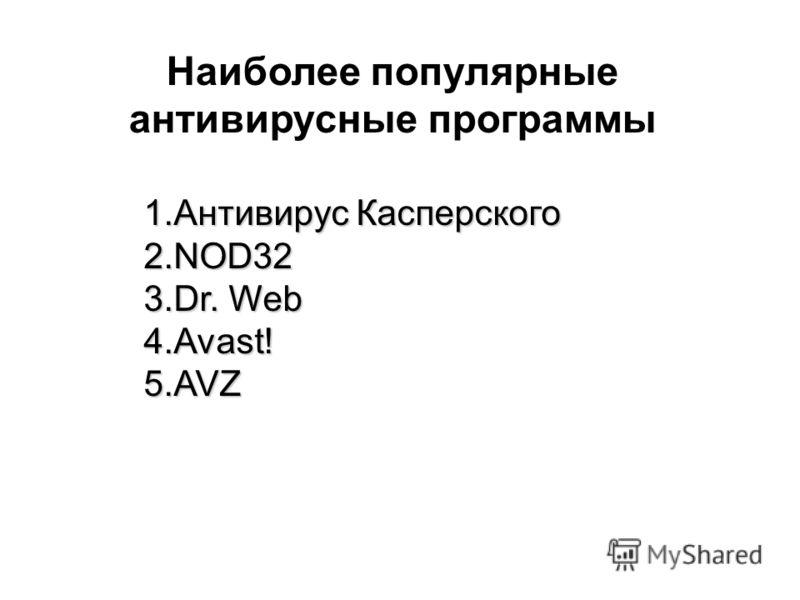 1.Антивирус Касперского 2.NOD32 3.Dr. Web 4.Avast! 5.AVZ Наиболее популярные антивирусные программы