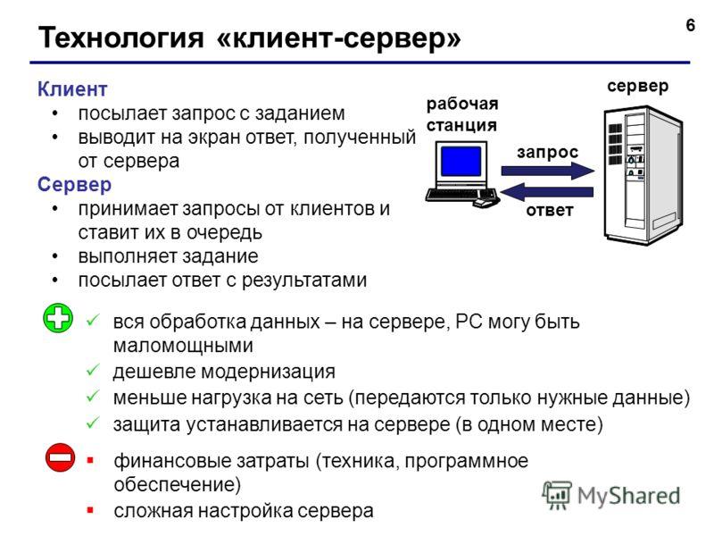 6 Технология «клиент-сервер» Клиент посылает запрос с заданием выводит на экран ответ, полученный от сервера Сервер принимает запросы от клиентов и ставит их в очередь выполняет задание посылает ответ с результатами вся обработка данных – на сервере,