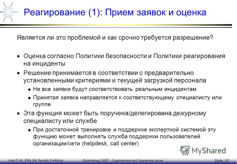 June 21-24, 2004 Silk Security Workshop Establishing CSIRT - Organisational and Operational issues Slide_57 Реагирование (1): Прием заявок и оценка Является ли это проблемой и как срочно требуется разрешение? Оценка согласно Политики безопасности и П