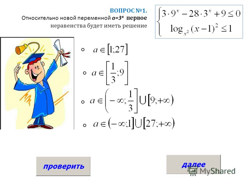 ВОПРОС 1. Относительно новой переменной a=3ˣ первое неравенства будет иметь решение