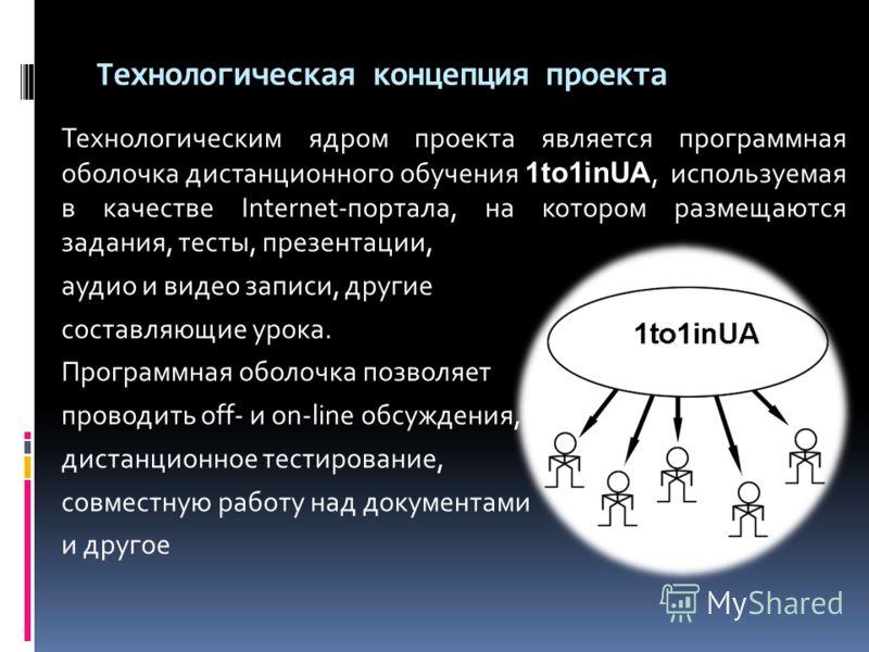 Технологическая концепция проекта Технологическим ядром проекта является программная оболочка дистанционного обучения 1to1inUA, используемая в качестве Internet-портала, на котором размещаются задания, тесты, презентации, аудио и видео записи, другие