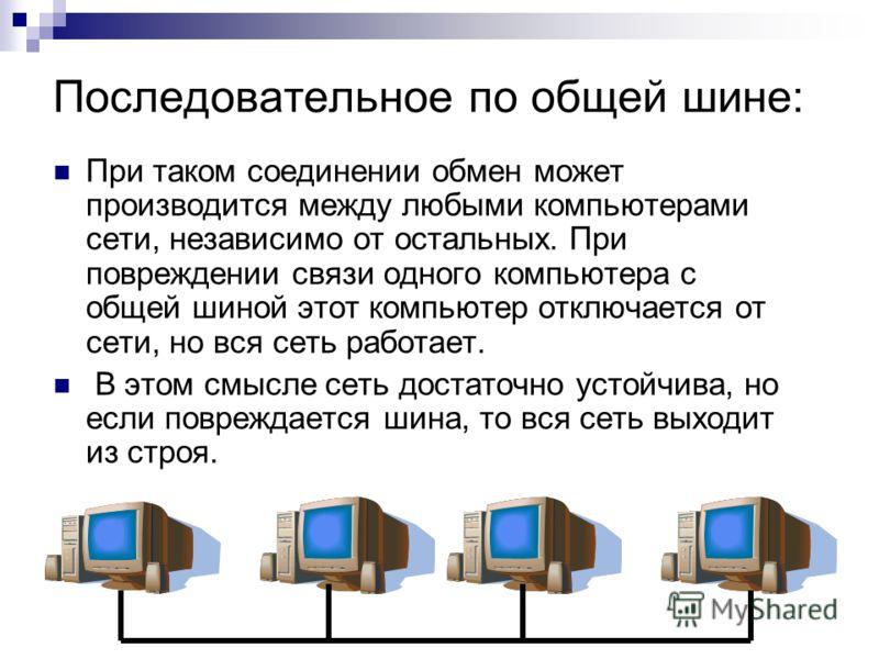 Последовательное по общей шине: При таком соединении обмен может производится между любыми компьютерами сети, независимо от остальных. При повреждении связи одного компьютера с общей шиной этот компьютер отключается от сети, но вся сеть работает. В э