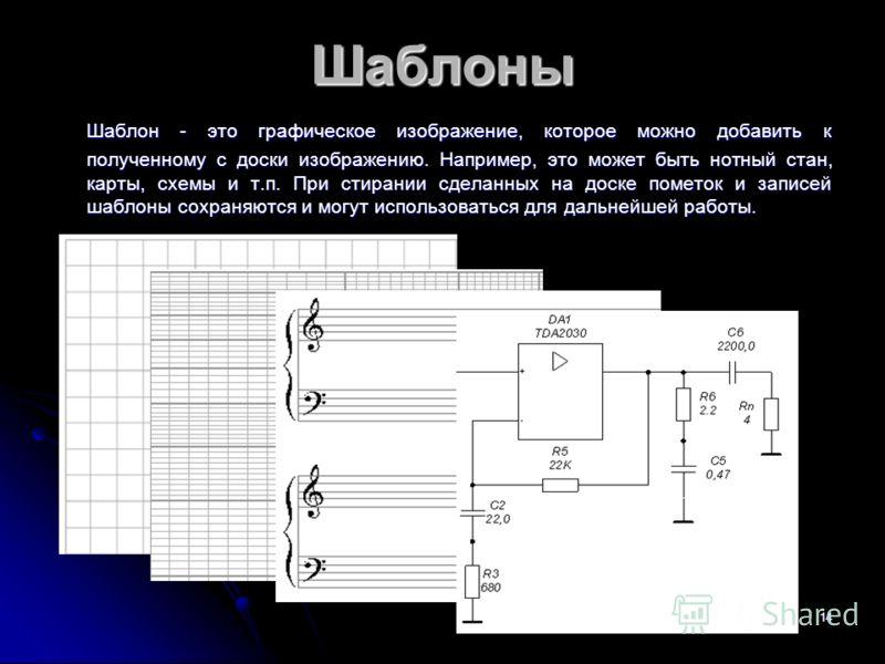 14 Шаблоны Шаблон - это графическое изображение, которое можно добавить к полученному с доски изображению. Например, это может быть нотный стан, карты, схемы и т.п. При стирании сделанных на доске пометок и записей шаблоны сохраняются и могут использ