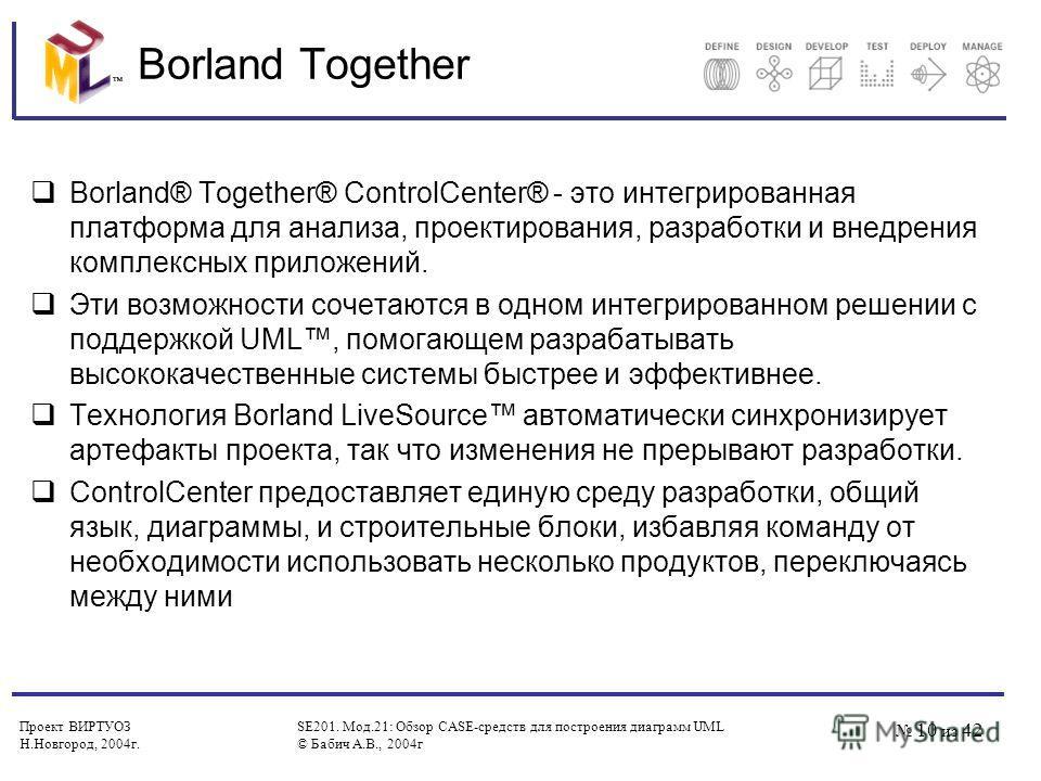Проект ВИРТУОЗ Н.Новгород, 2004 г. SE201. Мод.21: Обзор CASE-средств для построения диаграмм UML © Бабич А.В., 2004 г 10 из 42 Borland Together Borland® Together® ControlCenter® - это интегрированная платформа для анализа, проектирования, разработки